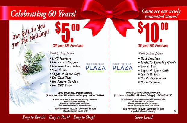 2018 Holiday Savings Coupon - Poughkeepsie Plaza