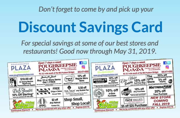 2019 Poughkeepsie Plaza Discount Savings Card