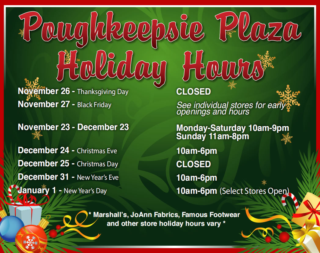 Poughkeepsie Plaza 2020 Holiday Hours